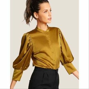Puff Sleeve Button down Satin Top